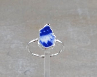Blue Sea Pottery Sea Glass Ring set in Sterling Silver size 10.25