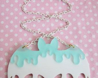 The Original Double Drippy Melty Bat Acrylic Necklace Icey Mint x White Fairy Kei Creepy Cute Kawaii