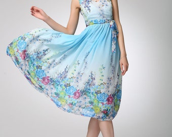 Prom dress women chiffon dress flower long dress (1252)
