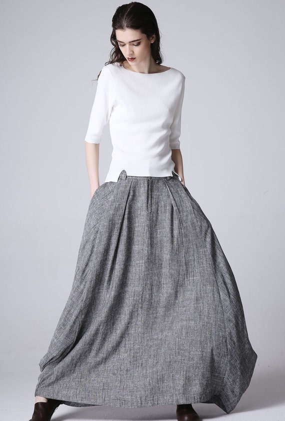 Boho chic maxi skirt linen skirt grey skirt gypsy skirt