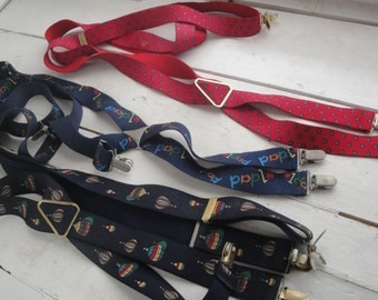 Mens Vintage Suspenders Red