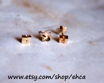 Handmade 6.75mm 14k Gold Cherry Blossom Locking Post Earrings