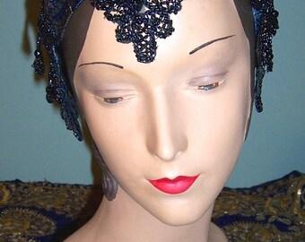 Victorian Blue Iris Beaded Silk Metallic Brocade Headband Headpiece