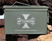 Storage Box, Green 50 Caliber Ammo Can Personalized Gift, Grandpa Gift, Gift for Men, Camo Hunting Fishing Camping Shooting, Gift Box