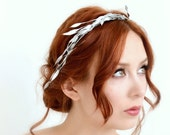 Leaf crown, silver branch crown, greek goddess crown, bridal head piece, hair accessory, wedding accessories by Gardens of Whimsy on Etsy