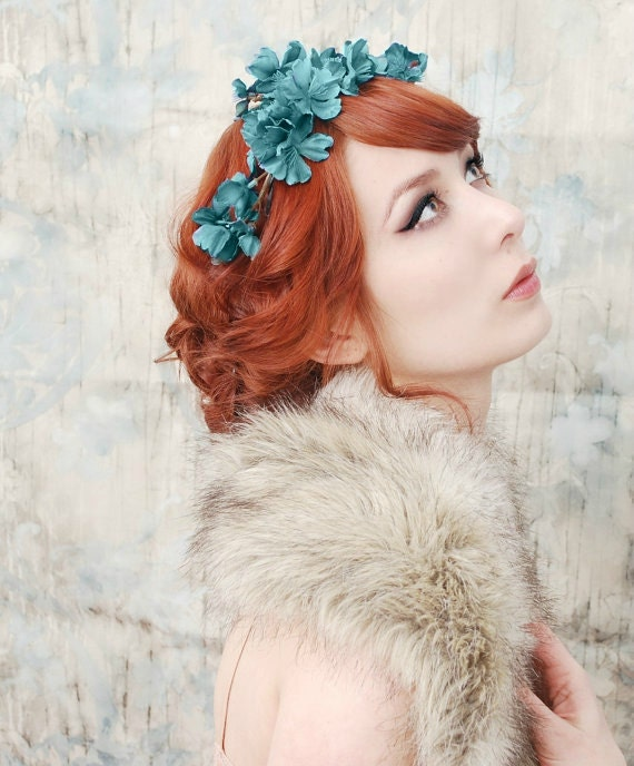 Woodland headpiece, teal blue flower crown, floral tiara, wedding hair accessory by gardens of whimsy - Muse