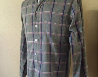 Vintage Men's 80's Sasson Shirt, Grey, Long Sleeve, Button Up (S/M)