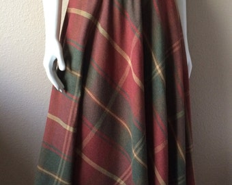 Vintage Women's 80's Flare Skirt, Plaid, Polyester, Wool, Knee Length by Campus Casuals (M-L)