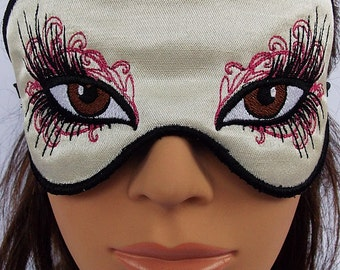 Fancy brown eye  fairy tale satin embroidered sleep mask