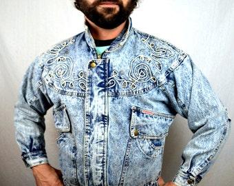Vintage Oversized Acid Wash Denim Coat Jacket by Mainwear