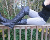 Black THIGH HIGH Leather Boots, Size 8 1\2  8.5