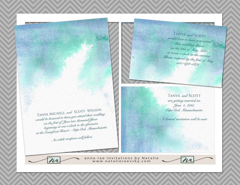 Printable Watercolor Wedding Invitation Template DIY By Nraevsky