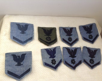 Vintage Military Patchs. 8 Cloth  Patches.  Possibly Vietnam era