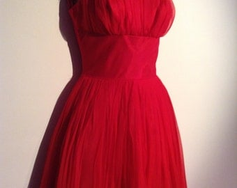 New old stock Red Chiffon Cocktail Dress. Vintage 1950, Lipstick Red.  Hollywood Glamour.  Rockabilly, Bombshell, Pinup, Swing full skirt.