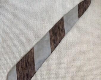 Vintage 1960 SKINNY Tie.  Beautiful Bronze, Silver and Black Necktie.  Silk.  Mod, Eames era, Mad Men, Beatles, Rockabilly.