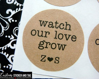 watch our love grow, custom initials, circle stickers, wedding favors, envelope seals, custom wedding stickers, succulent stickers (S-47)