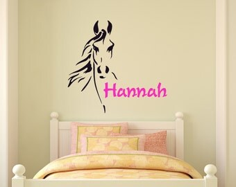 Horse wall decal-Name decal-Western wall decal-Girls name decal-Teen bedroom decal-Girls bedroom wall decal-Personalized-28 X 30 inches