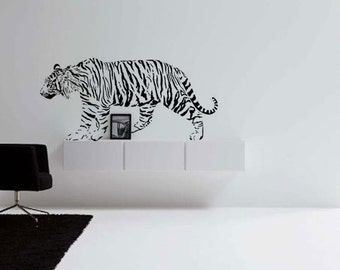 Tiger decal, jungle big cat wall sticker, college dorm room decal, den wall decor, teen room decal, safari decal, large  27 X 57 inches