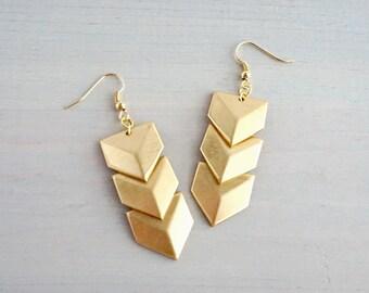 Art Deco Chevron Brass Dangle Earrings