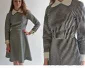 Vintage 60s Mod Dress / Black & White Honeycomb Flare Skirt Secretary Dress / 60s Mod Mini Dress S / M