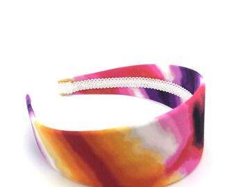 Extra Wide Headband - Splashes of Fuchsia, Purple, Orange, yellow, Red, and Black