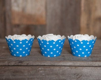 12 Cupcake Wrappers - Aqua Blue Cupcake Decorations - Paper Cupcake Wrappers - Cupcake Supplies - Cupcake Party - Cupcake Wrap