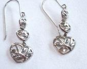 Vintage Jewelry Filigree Flower Leaf Heart  925  Sterling Dangle Earrings