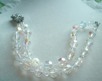 Clear Crystal Beads Double Strand Bracelet with Rhinetone Clasp