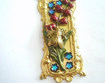 Fly Lily of Valley Blue and Ruby Red Flowers Vintage Jewelry Brooch