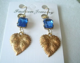 Leaf Blue Dangle Earrings