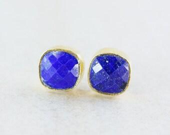 Blue Lapis Stud Earrings - Gold/Silver - Birthstone Studs