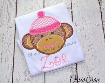 Sock Monkey shirt, Girls Sock Monkey Embroidered Shirt, Applique Bodysuit or Shirt