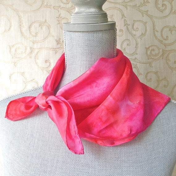 Silk Scarf Bandana Hand Dyed in Pinks and Corals
