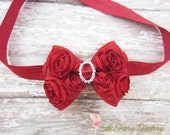 Red Hair Bow, Mini Satin Rosette Bow w/ Crystals Headband or Hair Clip, Petite Virginia, Newborn Headbands, Child Baby Girls Headband