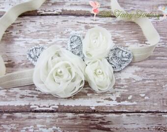 Ivory Flower Headband, Chiffon Flower Trio w/ Pearls Headband, Baptism, Christening, Wedding, Newborn Headband, Baby Child Girls Headband