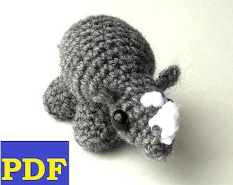 PDF Crochet Amigurumi Animal Patterns: Tiny Rhino Amigurumi PATTERN