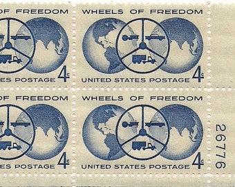 Postage Stamps vintage Wheels of Freedom Plate Block 4 cent US stamps 1960 Automobile Show Detroit FREE SHIPPING