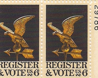 Register to Vote stamps 1968 Vintage postage stamps Register to Vote plate block United States stamps vintage FREE SHIPPING
