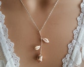 Rose Gold Necklace | Rose Necklace | Rose Pendant | Bridesmaid Gift | Wedding Necklace | gift for Mother of the Bride