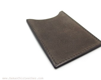 ASH Gray Leather Card Case, Handmade Card Holder, Personalized Business Card Case, Vertical Wallet, Card Holder, Sakao on Etsy