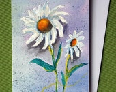 Daisy 1 - Hand painted floral watercolor greeting card