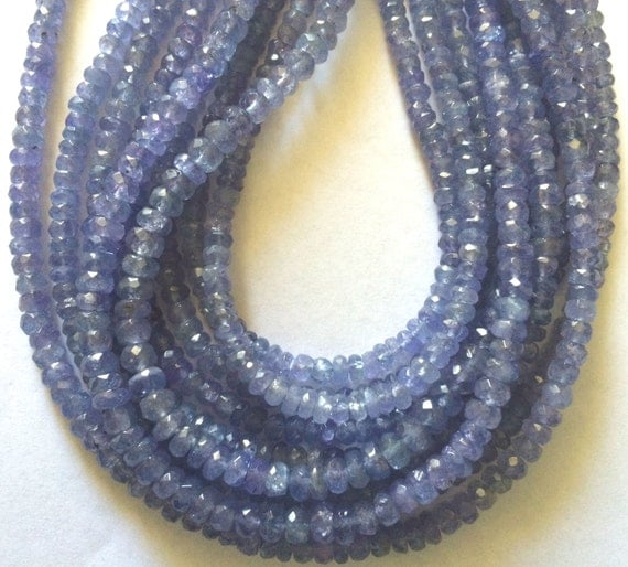 Faceted Rondelle Tanzanite: 14 Strand 3.5mm Faceted TANZANITE Rondelle Beads