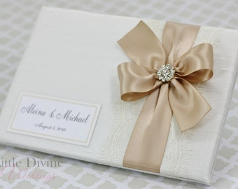 Wedding Guest Book Off White Champagne  Custom Made in your Colors