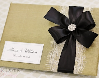 Gold Wedding Guest Book Black Ribbon Custom Made in your Colors