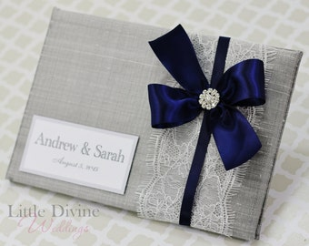Silver Wedding Guest Book Navy Blue Lace Custom Made in your Colors