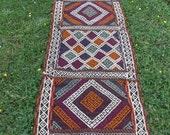 """7 ft x 2 ft 1"""". Turkish style Runner. Hand woven  Rug/Kilim.Carpet. 213 x 64 cm Tapis"""