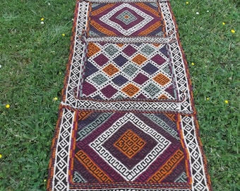 "7 ft x 2 ft 1"". Turkish style Runner. Hand woven  Rug/Kilim.Carpet. 213 x 64 cm Tapis"