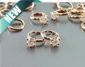 4 rose gold miniature CZ engagement ring charms, Cubic Zirconia promise rings, bridal wedding jewelry 1838-BRG (bright rose gold, 4 pieces)