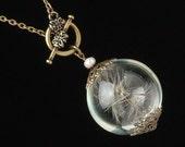 Dandelion Necklace, dandelion seeds, glass orb necklace, wish necklace, terrarium necklace, gold filigree pearl pendant wedding jewelry Gift