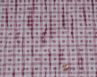Vintage Waverly - Schumacher Fabric - 1 and 1/2 Yards ~Crazy Gingham~Rose Red and White Polished Cotton